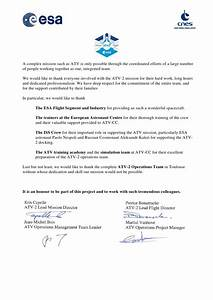 Esa cnes atv appreciation letter for Esa cat letter