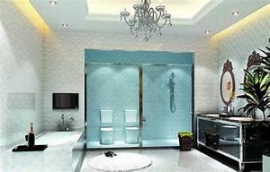 le plafond lumineux jolis designs de faux plafonds et d With carrelage adhesif salle de bain avec plafonnier led lumiere du jour