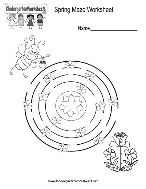 Spring Maze Worksheet  Free Kindergarten Seasonal Worksheet For Kids