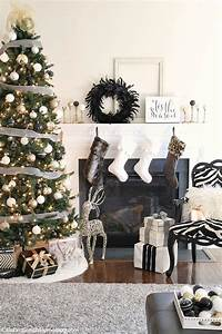 Our Christmas Decor This Year Black White Gold