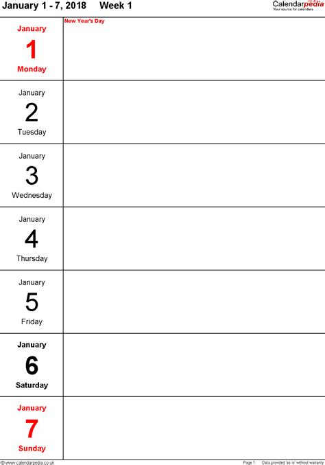 weekly calendar template 2018 weekly calendar 2018 uk free printable templates for pdf