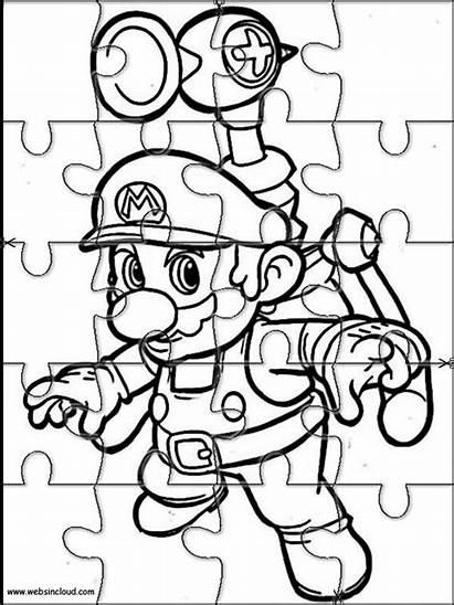 Mario Bros Printable Puzzles Cut Coloring Pages