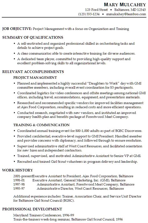resume for project management susan ireland