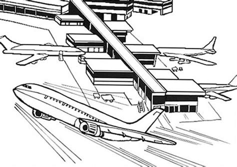 Vliegveld Kleurplaat by An Airplane Just Take From Airport Coloring Page