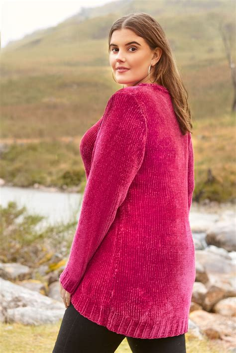 Pull Rose En Maille Chenille, Grande Taille 44 à 64