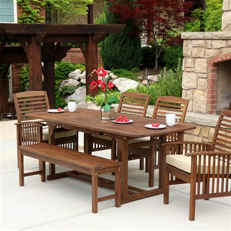 Patio Set by We Furniture Solid Acacia Wood 6 Patio