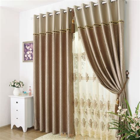 Brown patterned curtains are delicate