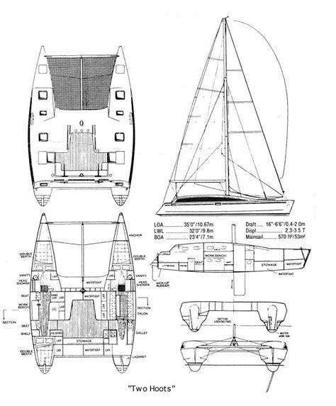 Catamaran Drawing by Shuttleworth Design Shuttle 35
