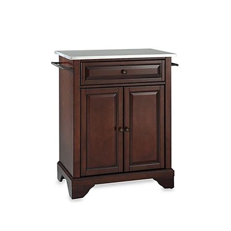 stainless steel portable kitchen island crosley lafayette stainless steel top portable kitchen island bed bath beyond