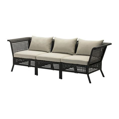kungsholmen  sits soffa utomhus svartbrunhalloe beige