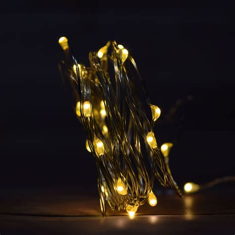 battery operated christmas lights w timer 20 warm white led fairy wire waterproof string lights w