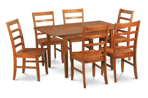 7 pc rectangular dinette kitchen dining table 6 wood seat
