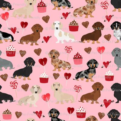 doxie love valentines fabric cute love design