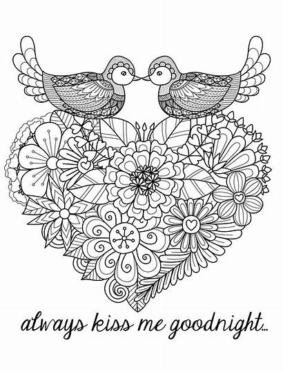 Coloring Adults Pages Valentines Kiss Goodnight