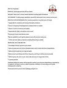 restaurant cook description resume posting prep cook and a grill catering milwaukee wi