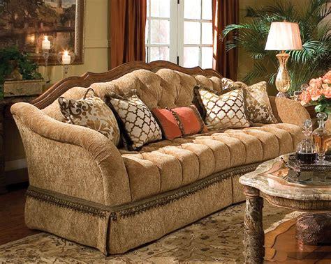 aico wood trim tufted sofa villa valencia ai