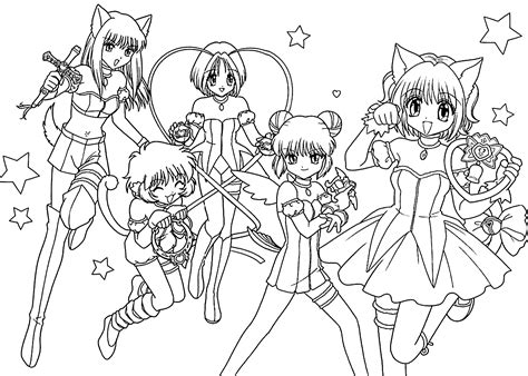 Mew-mew Team Anime Coloring Pages For Kids, Printable Free
