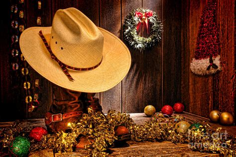 cowboy christmas party photograph by olivier le queinec