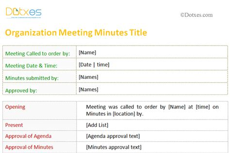 Stand Up Meeting Minutes Template by Meeting Minutes Template For Organization Dotxes