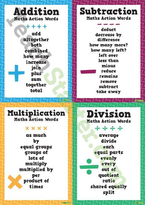 maths action words addition subtraction multiplication