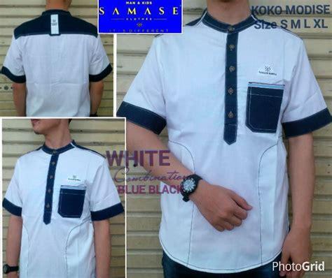 baju muslim pria koko putih lengan panjang keren modern baju koko samase baju muslim pria modern lengan pendek warna putih biru dongker limited