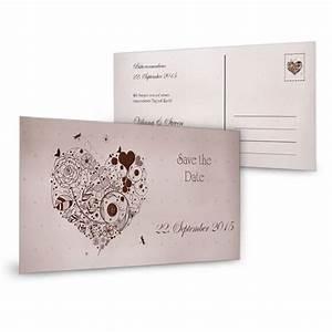 Save The Date Karte : save the date karte mit floralem herz in grau und braun ~ A.2002-acura-tl-radio.info Haus und Dekorationen
