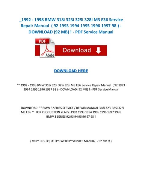 service manual car repair manuals online pdf 1994 1992 1998 bmw 318i 323i 325i 328i m3 e36 service repair manual