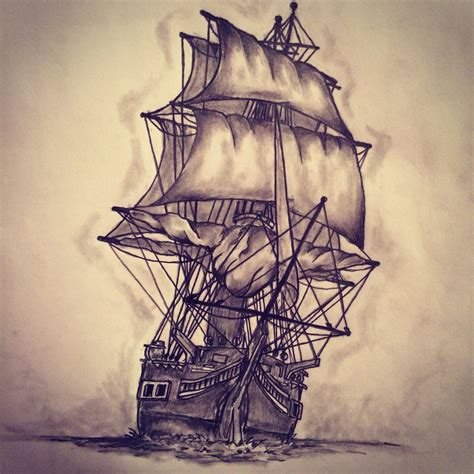 Touched Up This Ship Tattoo S Tattoo Art Sketches