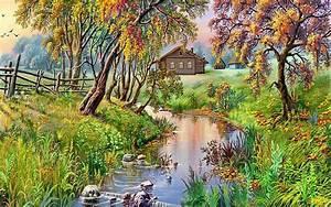 Landscape, Nature, Grass, River, Tree, House, 96343