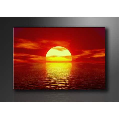 tableau imprime sur toile tableau imprim 233 mer couche de soleil achat vente tableau toile toile bois cdiscount