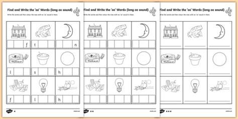 find  write  long oo words sound worksheet