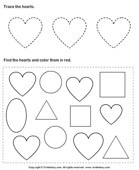 trace hearts and color them worksheet turtle diary 594 | trace hearts and color them