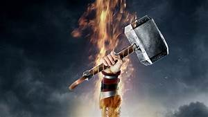 Full HD Wallpaper thor hammer mjolnir fire poster, Desktop ...