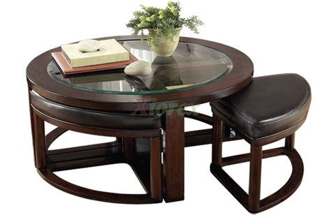 Aquarii Round Coffee Table With Stools Xiorex