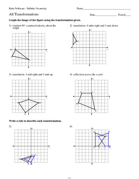 geometry transformations practice worksheet for 9th