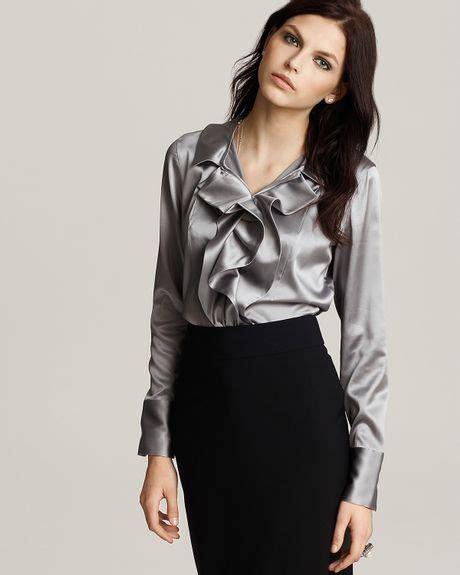 silver blouse black biralda ruffled silk satin blouse and grey