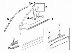 Gmc Acadia Door Belt Molding  Front  Upper   Black  Oem