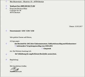 Einspruch Steuerbescheid Begründung : einspruch muster ~ Frokenaadalensverden.com Haus und Dekorationen
