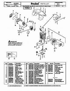 Poulan P3314 Chainsaw Parts List  2008