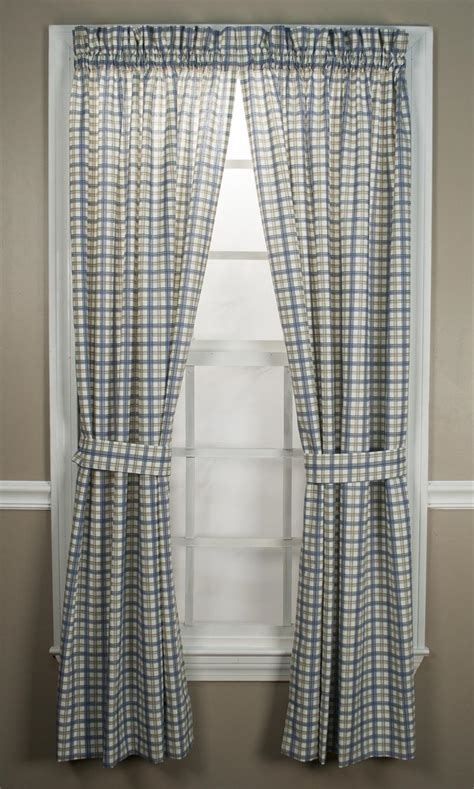 Plaid Drapery Panels by Custom Bristol Plaid Rod Pocket Curtain Panel Lined