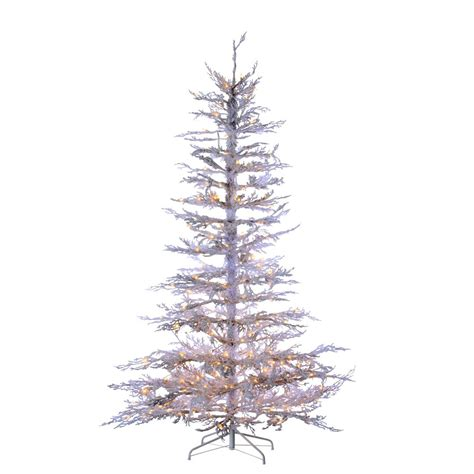 sterling nine foot flocked led trees sterling 7 5 ft indoor pre lit flocked white twig artificial tree with 300 ul clear
