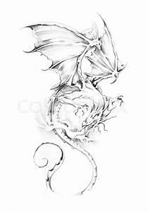 Sketch of tattoo art, dragon Stock Photo Colourbox