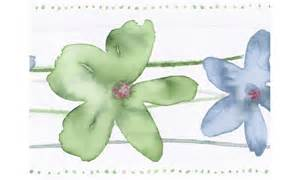 Cream Green Blue Watercolor Floral CT78167 Wallpaper Border