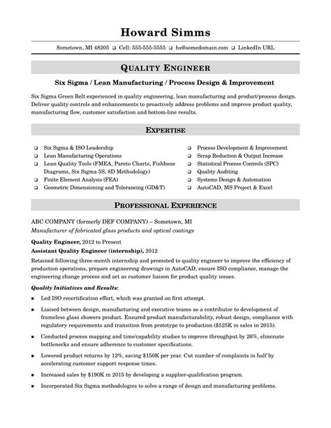 Quality Engineer Resume by Sle Resume For A Midlevel Quality Engineer