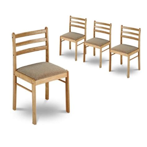 4 solid wood dining chairs with padded seats