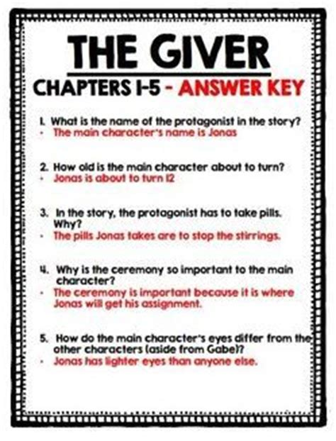 the giver resume chapter 1 lois lowry comprehension questions and the giver on