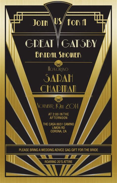 great gatsby invitation gold set   bridal shower