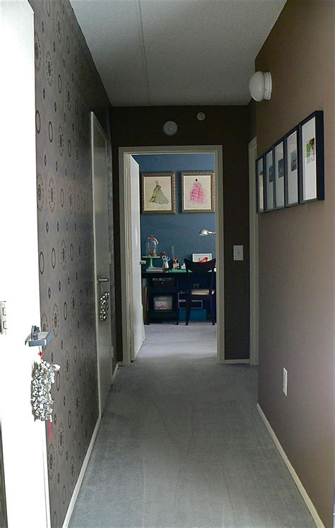entrance hallway wallpaper or decals on one side paint