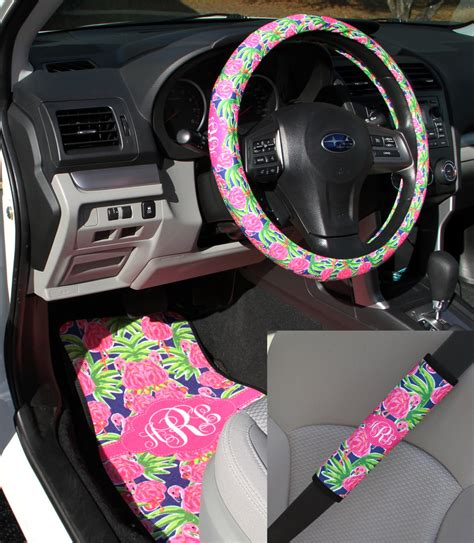 preppy lilly inspired flamingo car accessories mix  match