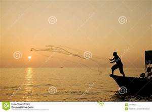 Throwing Fishing Net At Sunrise Stock Image - Image: 34449829